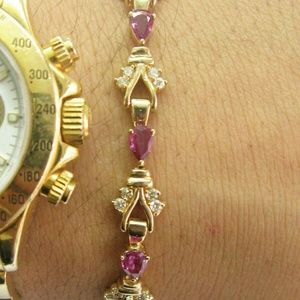 Jewelry - Natural Pear Ruby Diamond Yellow Gold Tennis Brace